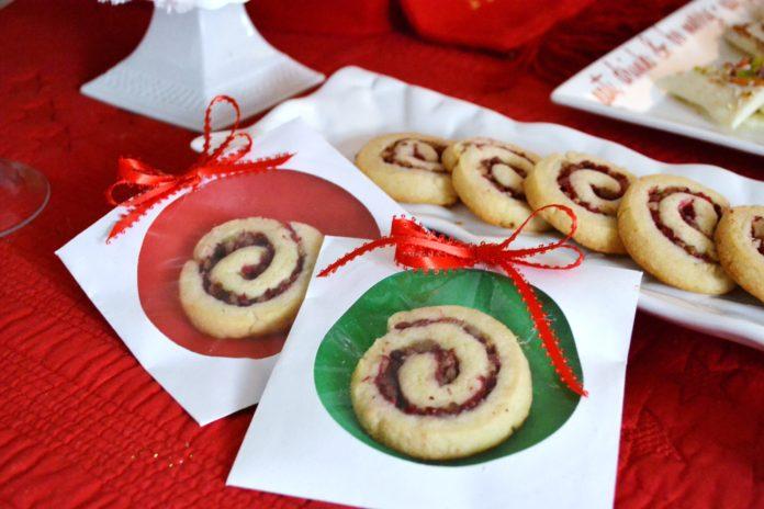 cranberry pinwheel cookies in wrappers